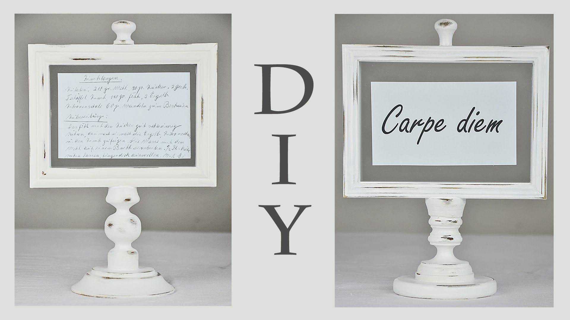 DIY - Bilderrahmenständer im Shabby Chic Stil für Rezepte, Postkarten, S...