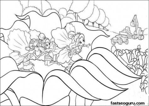 Printable Barbie Thumbelina Chrysella Janessa Coloring Pages
