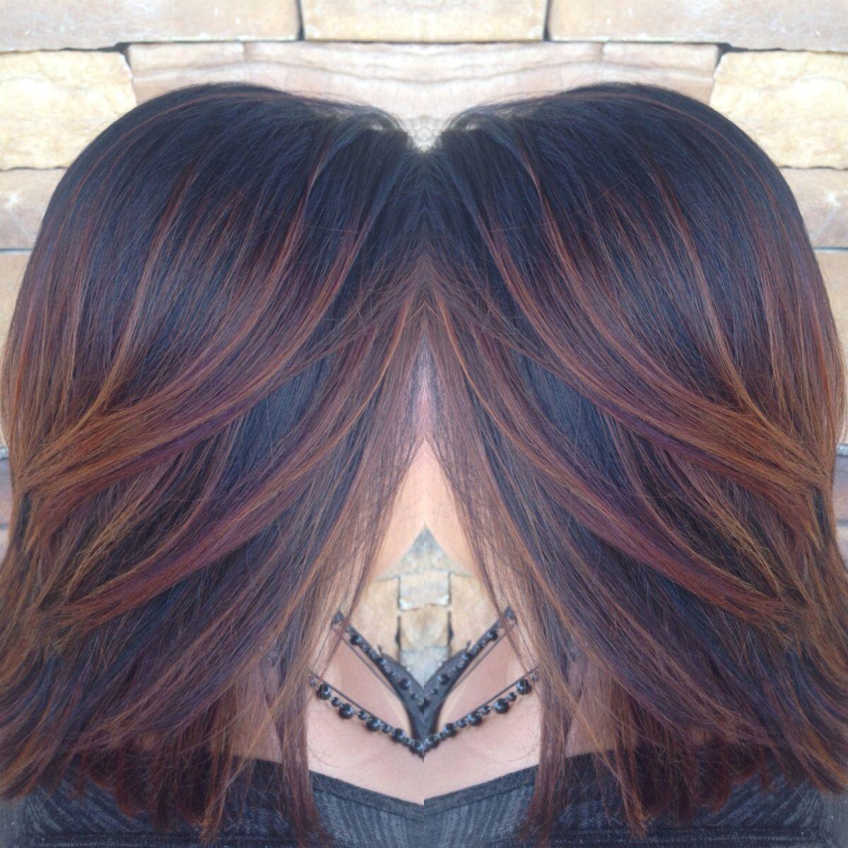 Pin By Lauramichellebeauty Wendt On Laura Michelle Beauty Black Hair Balayage Hair Highlights Hair Color Auburn