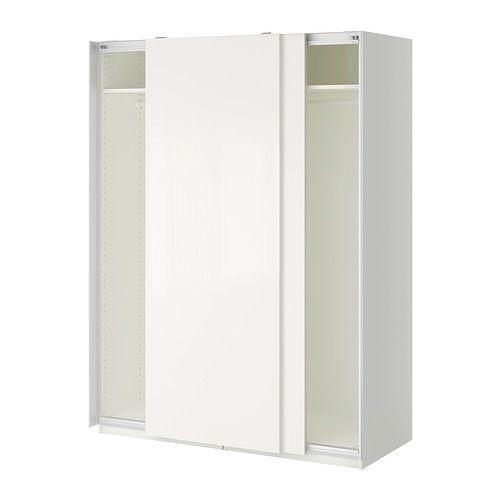 PAX Wardrobe, white, Hasvik white Hasvik white white 150x66x201 cm