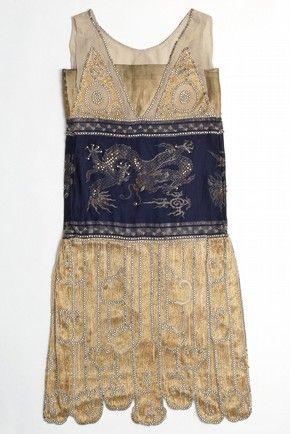 Navy and gold silk beaded evening dress with Chinese dragon motifs, by Jeanne Paquin for The Pavillon de L`Elégance, Paris Exhibition, France, 1925. @Deidré Wallace