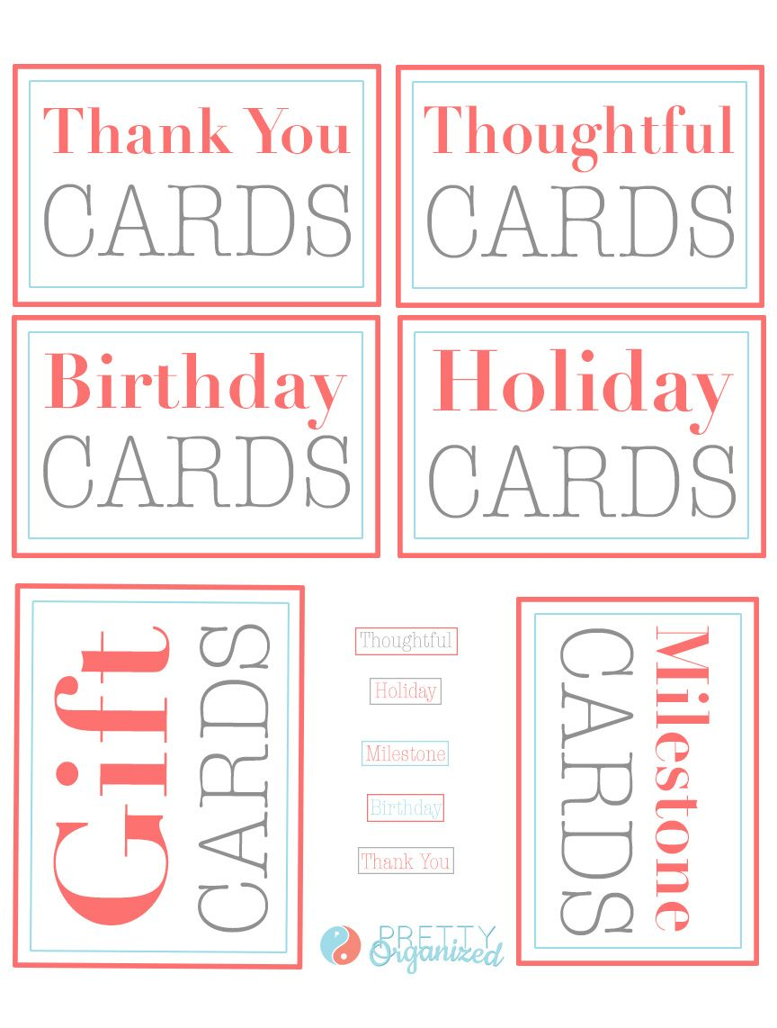 Labels For Organizing A Greeting Card Binder Categories Include