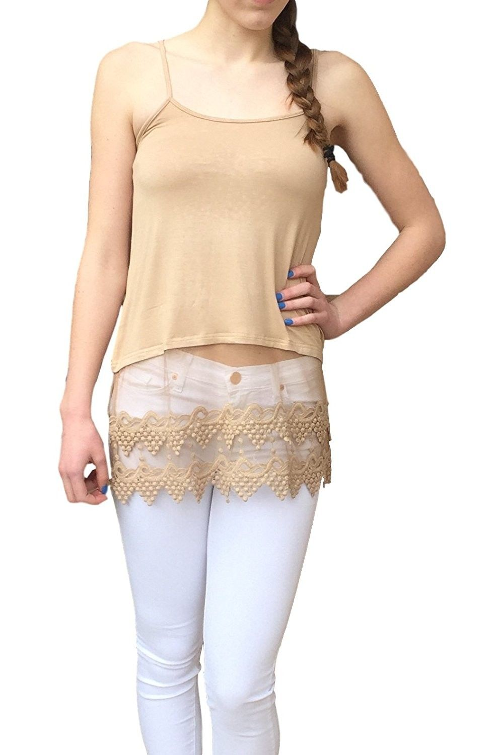 20fe8de3aa7c Top Extender Camisole With Lace Hem - Almond - C512E2V9NO3