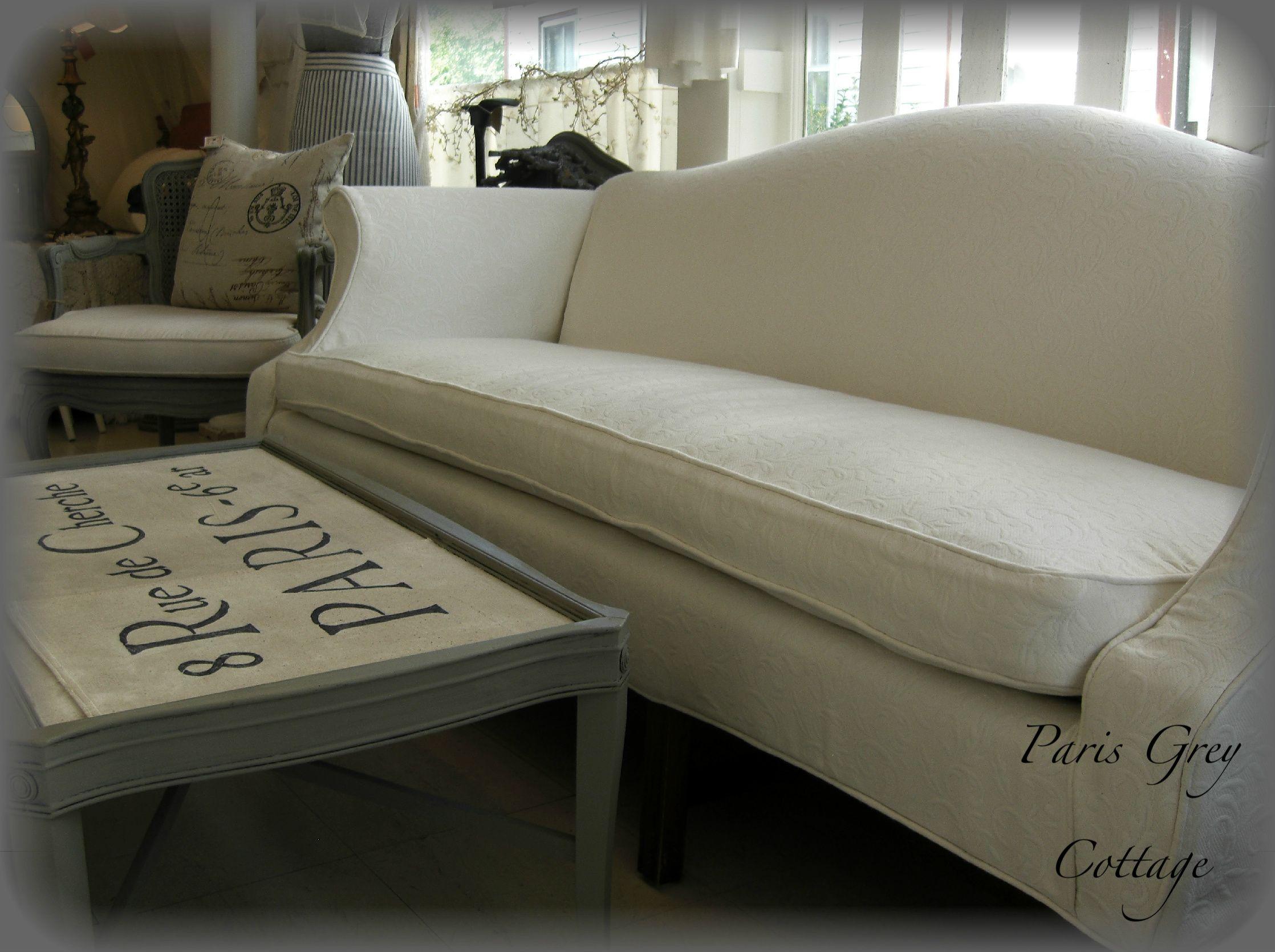 Slip Covered Camel Back Sofa Inside Paris Grey Cottage