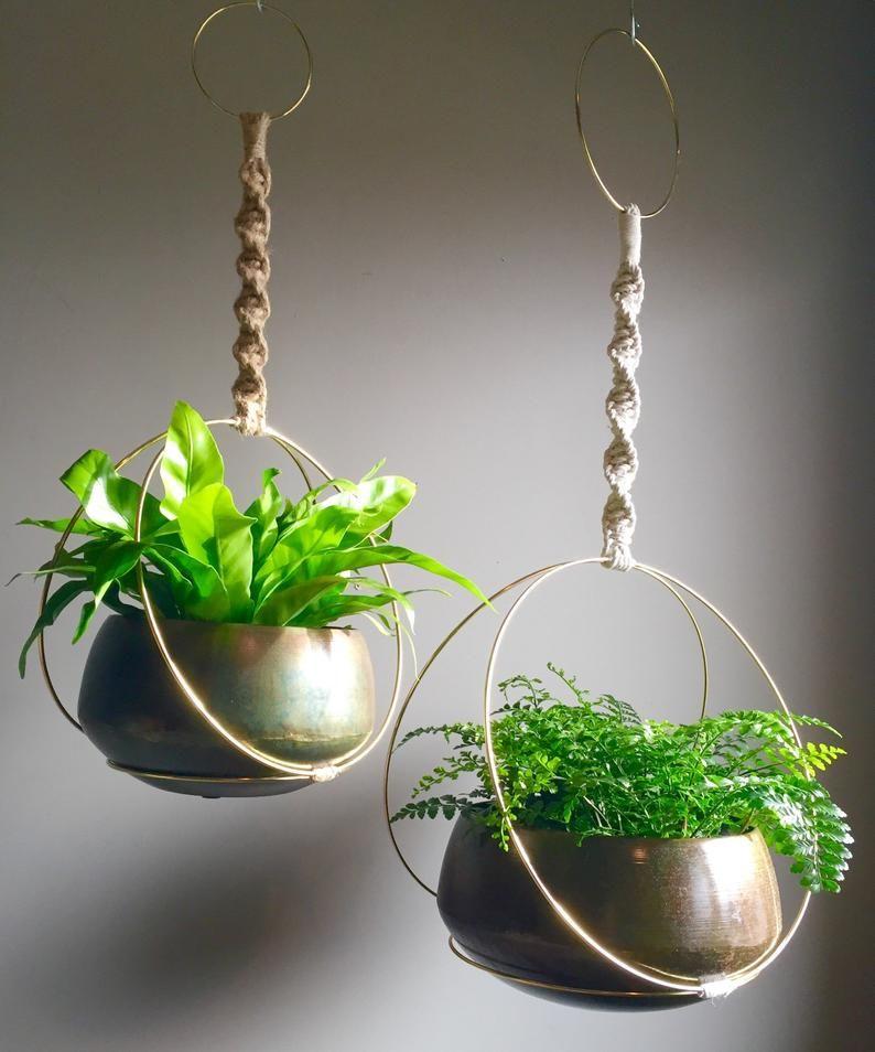 SANSA Hoop Macramé Plant Hanger//Brass Ring White Black Jute Cord Hanging Macramé Plants Rustic Bohemian Plant
