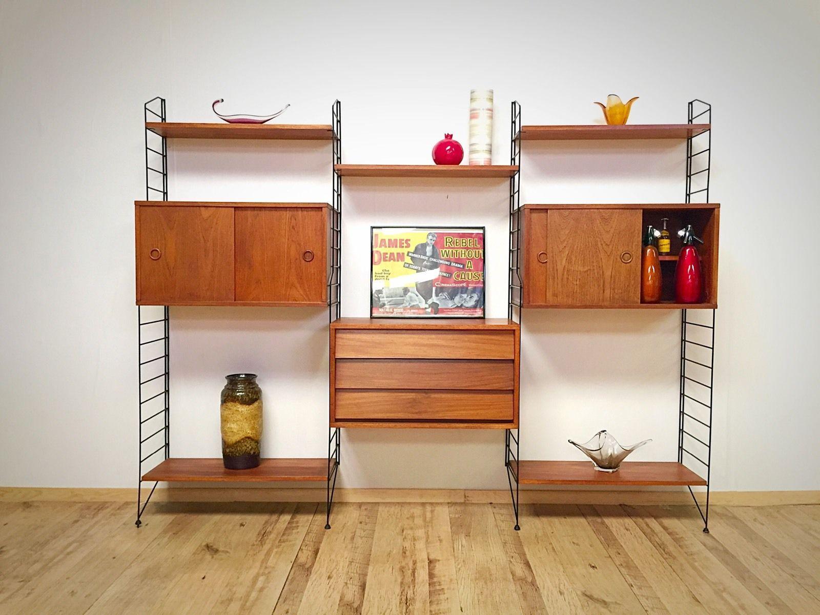 1960s 70s Retro Teak Mid Century String Shelving Unit System