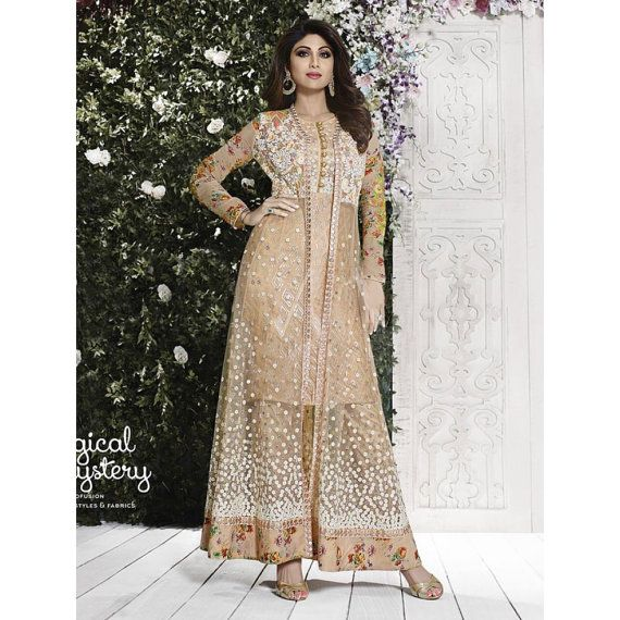 100p FREE STANDARD STITCHING Kameez Detail Bollywood Anarkali Suits Material - Net Color - Beige Work - Resham Emroidery , Lace Border , Printed Work ,