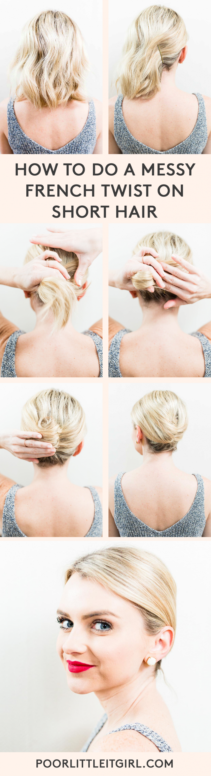 A Simple French Twist For Short Hair Fashionista Hair Styles Short Hair Tutorial Short Hair Updo