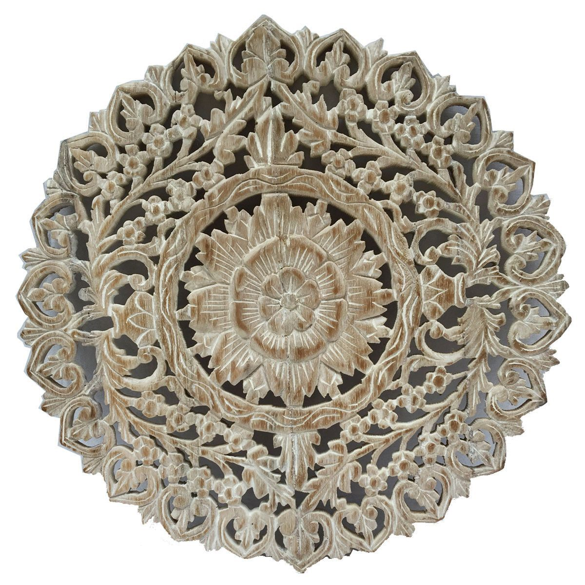 Oriental Round Carved Wood Wall Decor. Decorative Floral Wall Plaques. Teak  Wood Wall Hangings. Lotus Wood Carved Wall Art. Color Options Available 24