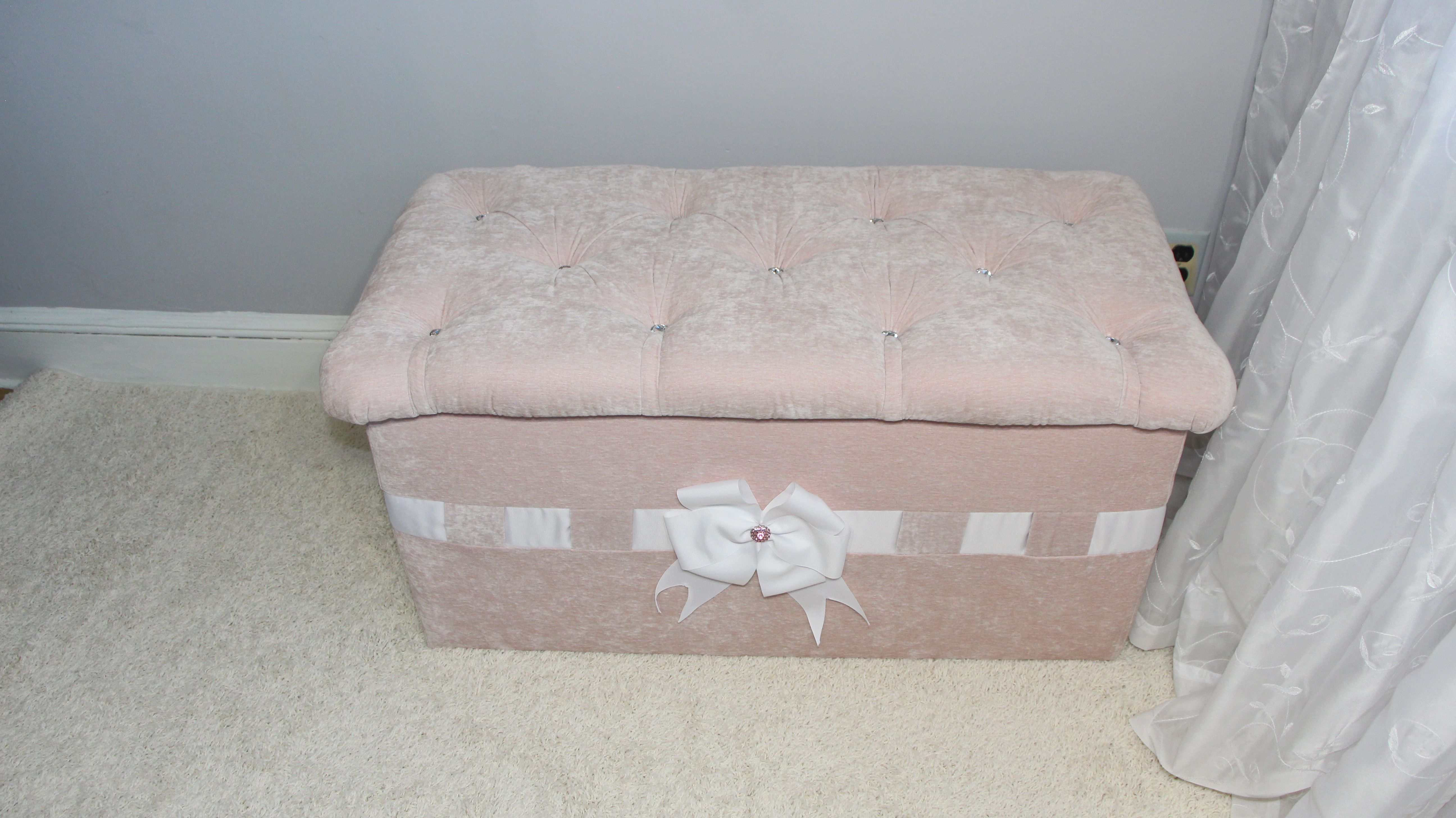 Upholstered Toy Box Chest Ottoman Storage New Beautifully