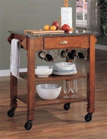 Kitchen Cart In Marble Top And Oak Veneer Finish Furniture Decor