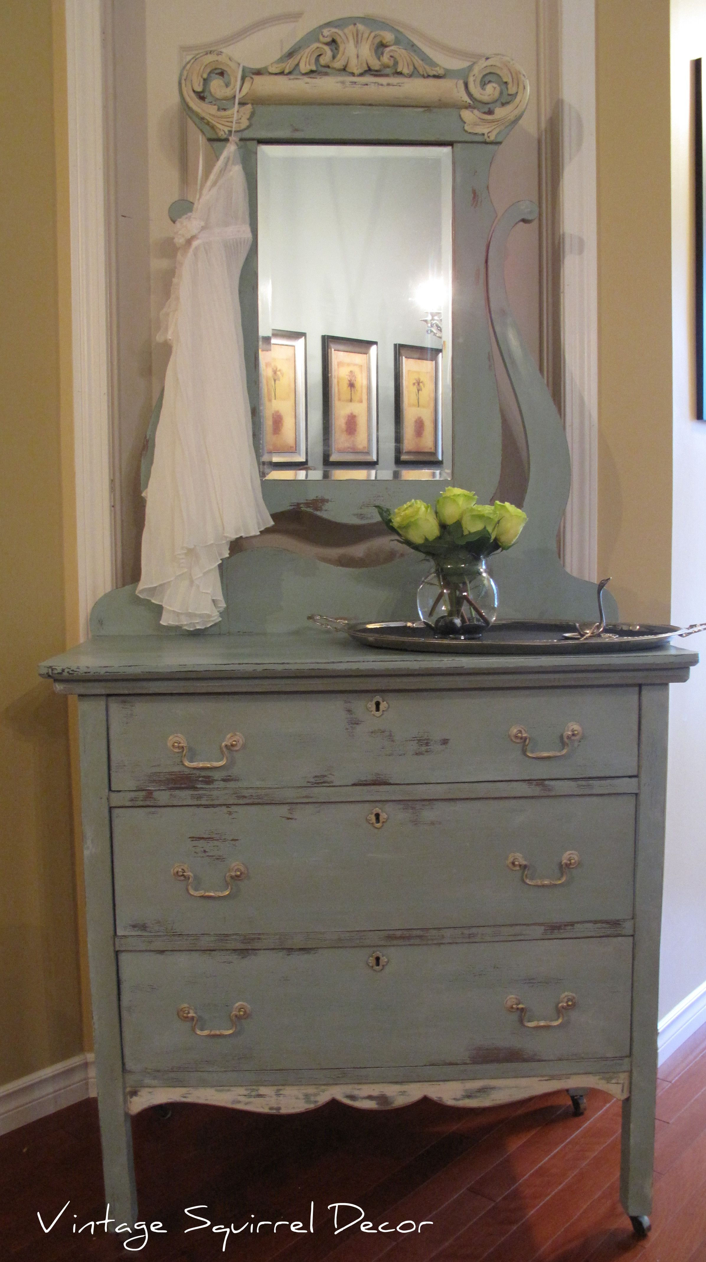 Antique dresser with mirror painted in Annie Sloan Duck Egg and Old