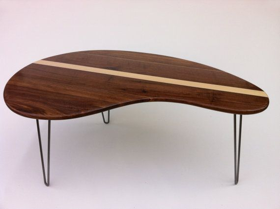 Mid Century Modern Coffee Table Solid Walnut with Maple Inlay