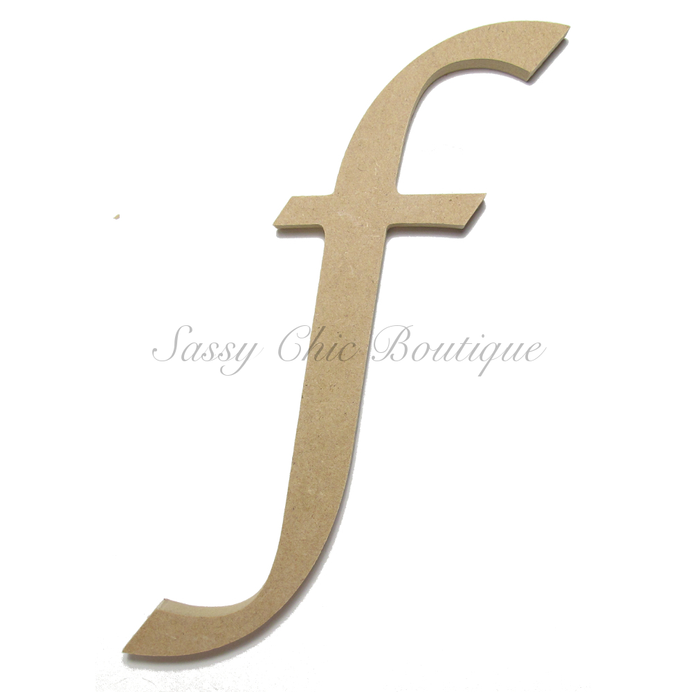 Unfinished Wooden Lowercase Letter F Lucida Calligraphy Font