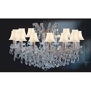 Swarovski Crystal Trimmed Maria Theresa Crystal Chandelier Lighting With White Shades Gold - Clear