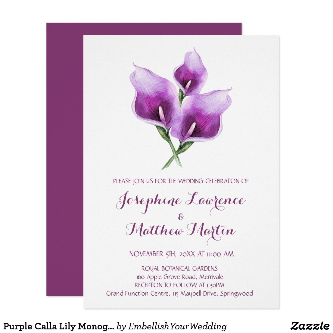 Purple Calla Lily Monogram Wedding Invitations Invitations