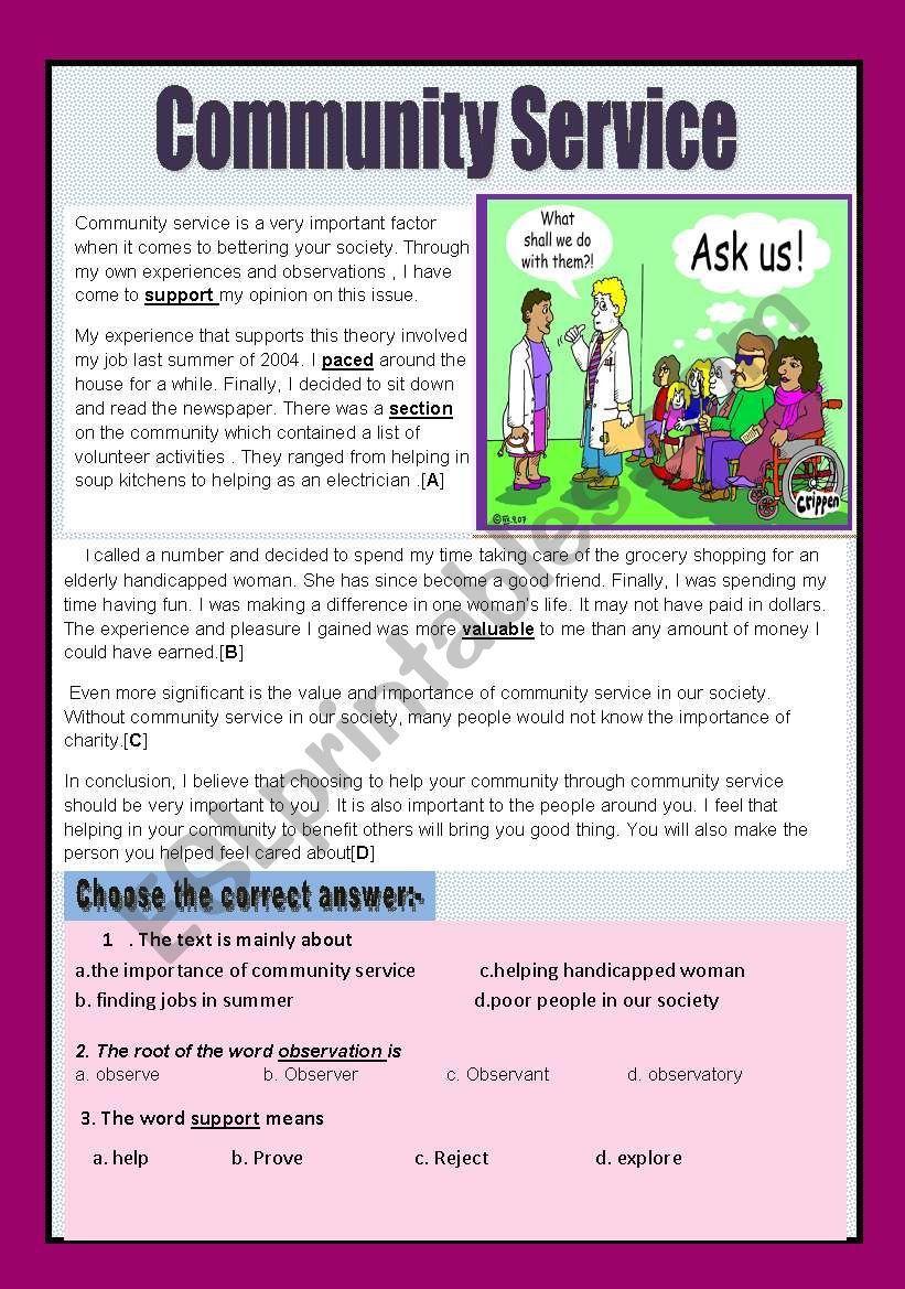 Reading Comprehension Community Service Esl Worksheet By Aaisha86 Reading Comprehension Reading Worksheets Basic Math [ 1169 x 821 Pixel ]