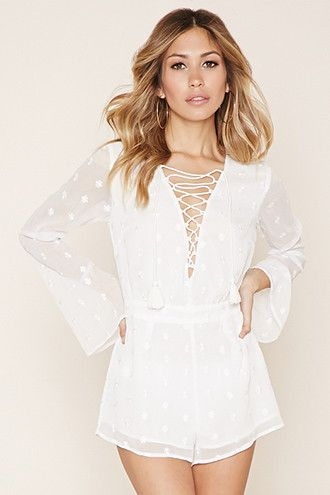 691ff4ecc3b Embroidered Lace-Up Romper