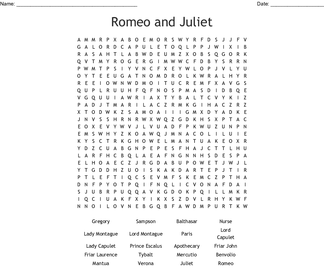Romeo And Juliet Word Search Classroom Activity