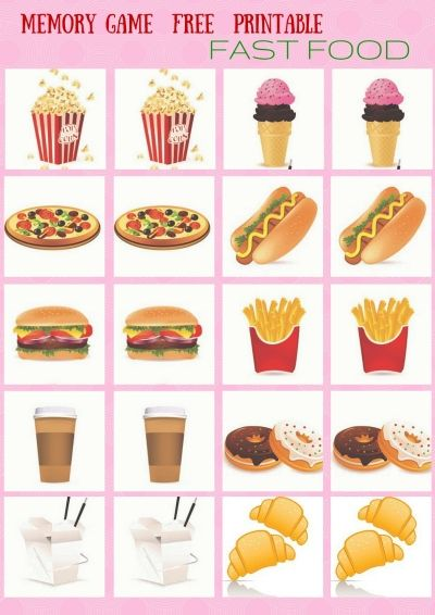 Chinese And Fast Food Memory Game Free Printables For