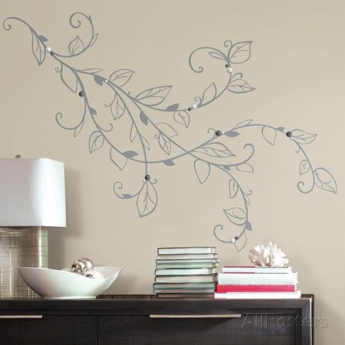 Silver Leaf Giant Peel And Stick Wall Decals With Pearls Wall Decal Allposters Com Wall Decals Roommate Decor Stylish Wall Decor
