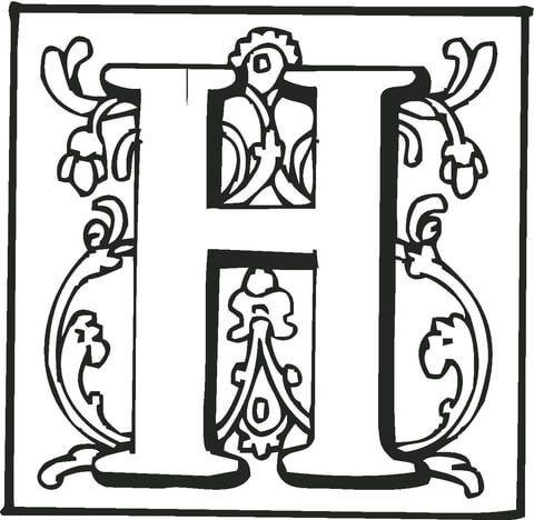 Letter H With Ornament Coloring Page Ausmalen Ausmalbild Buchstaben