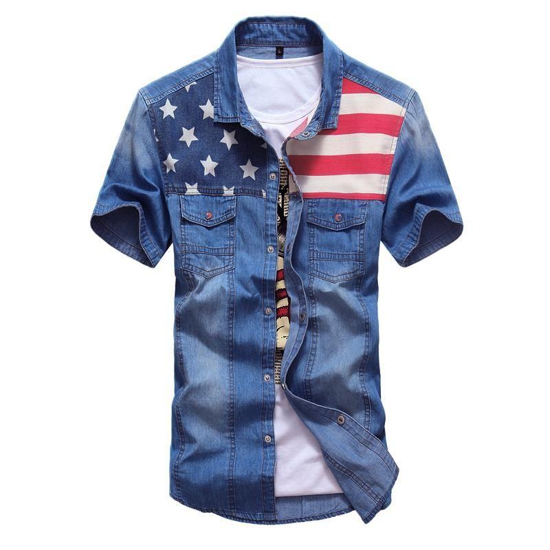 Vintage Denim Shirt Flag Short Sleeve Men's American Flag Blue Shirt Jeans  Camisa Jeans masculina Spring