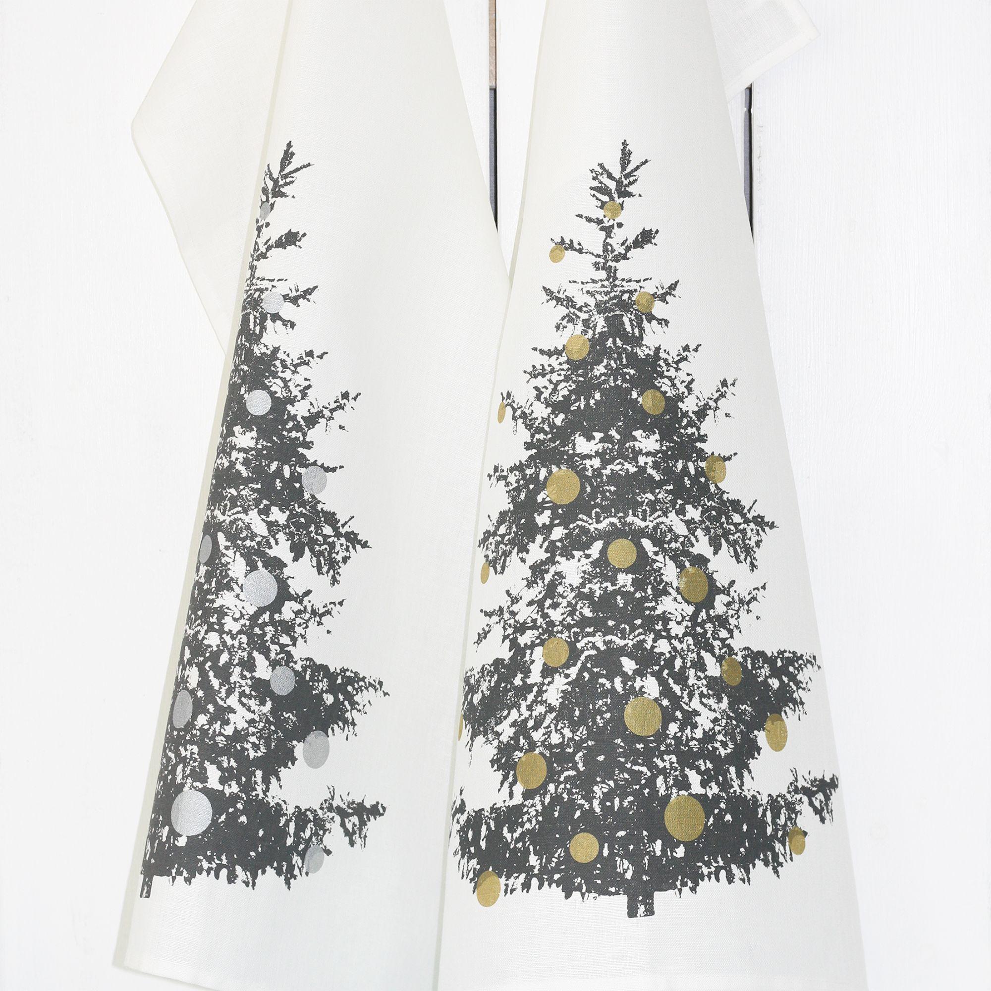 Geschirrtuch Tannenbaum Halbleinen Siebdruck Weihnachten Unsere Geschirrhandtücher sind für im lineshop auf Frohstoff erhältlich