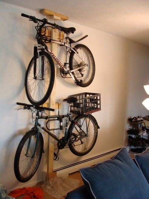 Hang Your Folding Bike In Your Closet Diy Bike Rack Vertical Bike Rack Bike Rack Garage