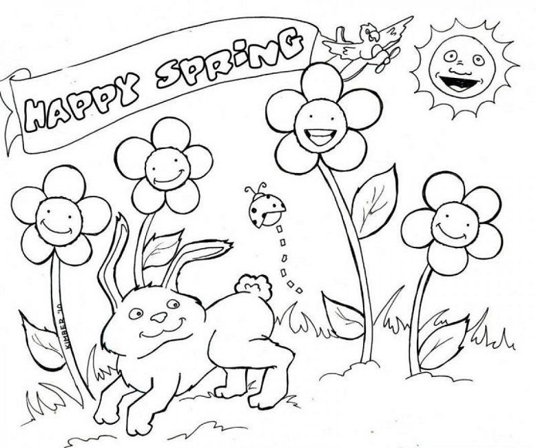 Happy Spring Coloring Pages Summer Coloring Pages Spring