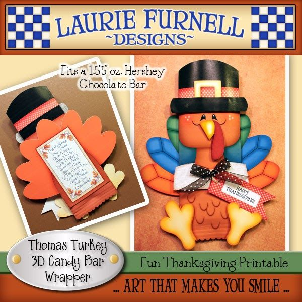 thomas turkey candy bar wrapper by lauriefurnelldesigns on etsy