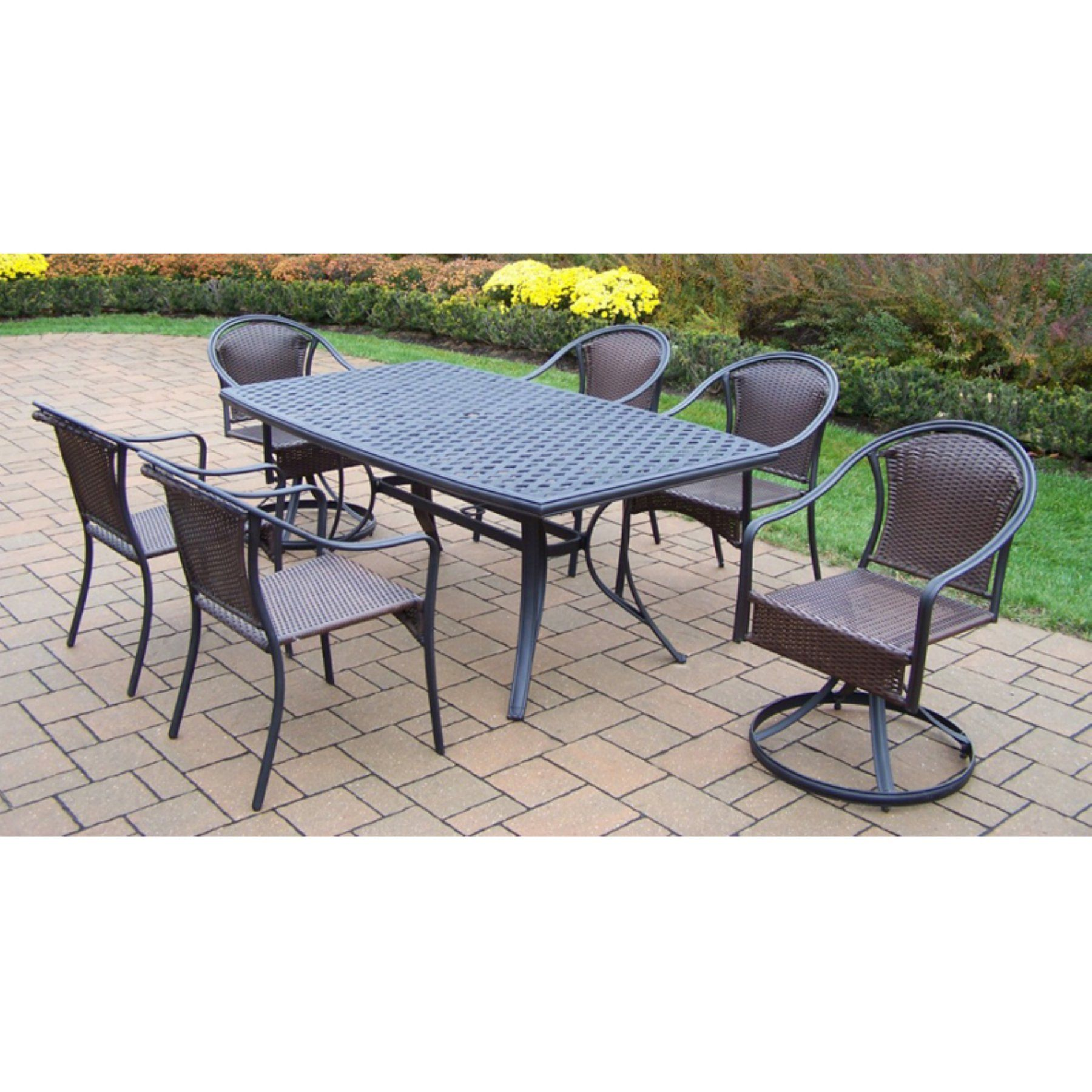 Outdoor Oakland Living Cascade 7 Piece Patio Dining Set with Boat