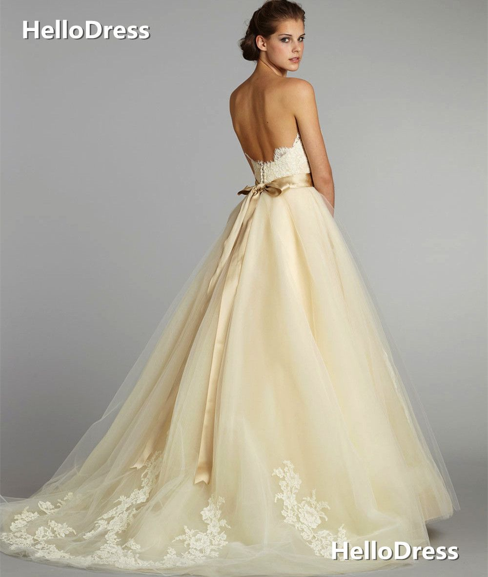 Champagne and ivory wedding dress  Sleevesless Wedding Dress with Ribbon Sash ChampagneIvory Bridal