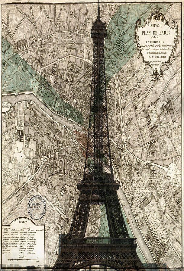 Paris Vintage Map And Eiffel Tower Paris Map Tower Paris