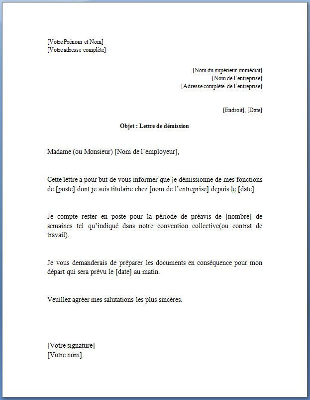 exemple de lettre de demission simple