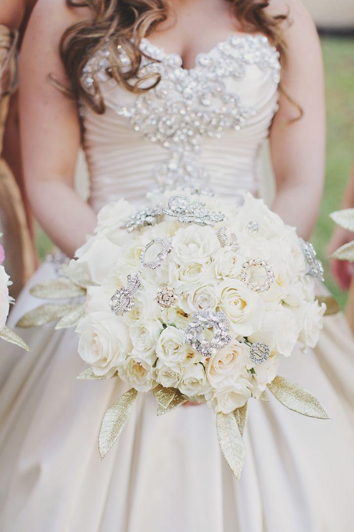 Jeweled Bridal Bouquets White Wedding Bouquets Wedding