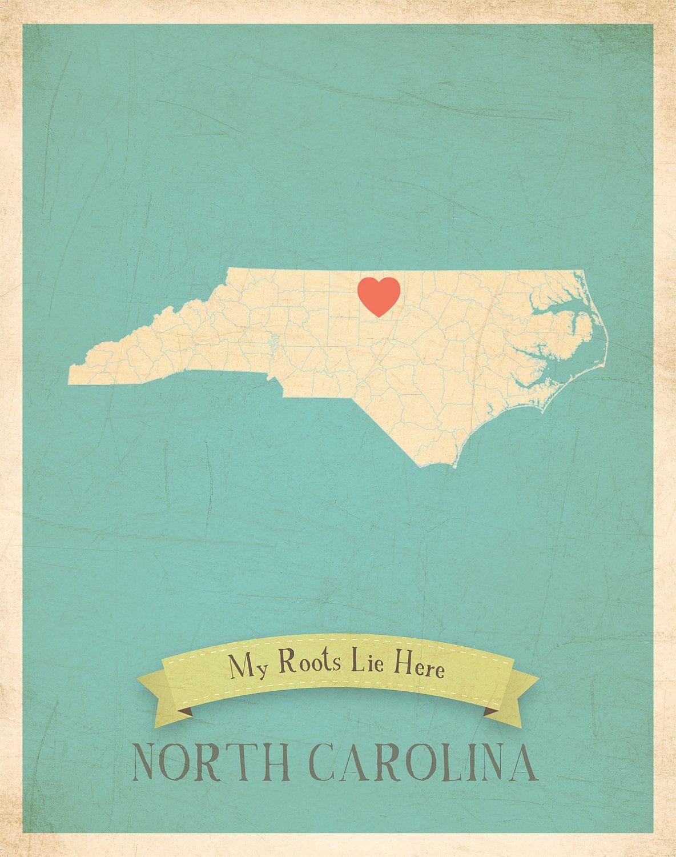 North Carolina Roots Map 11x14 Customized Print $40 00 via Etsy