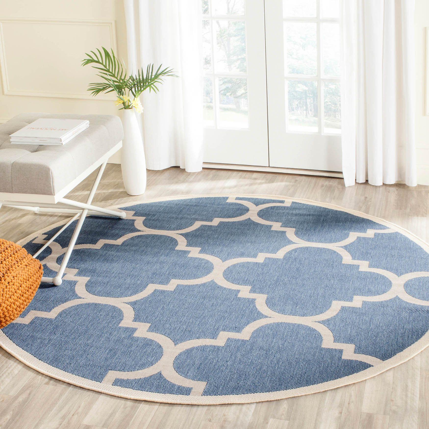 Safavieh Indoor Outdoor Courtyard Blue Beige Rug 4 Round Size