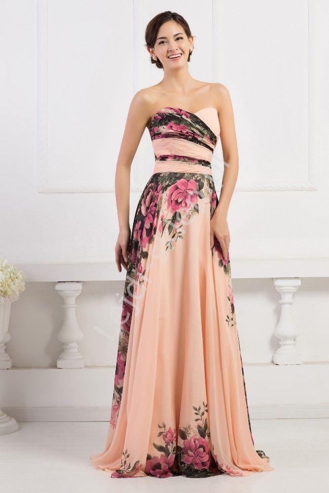 Flower Long Dress Kwiatowa Długa Suknia Dekolt Serduszko Kwiatowa