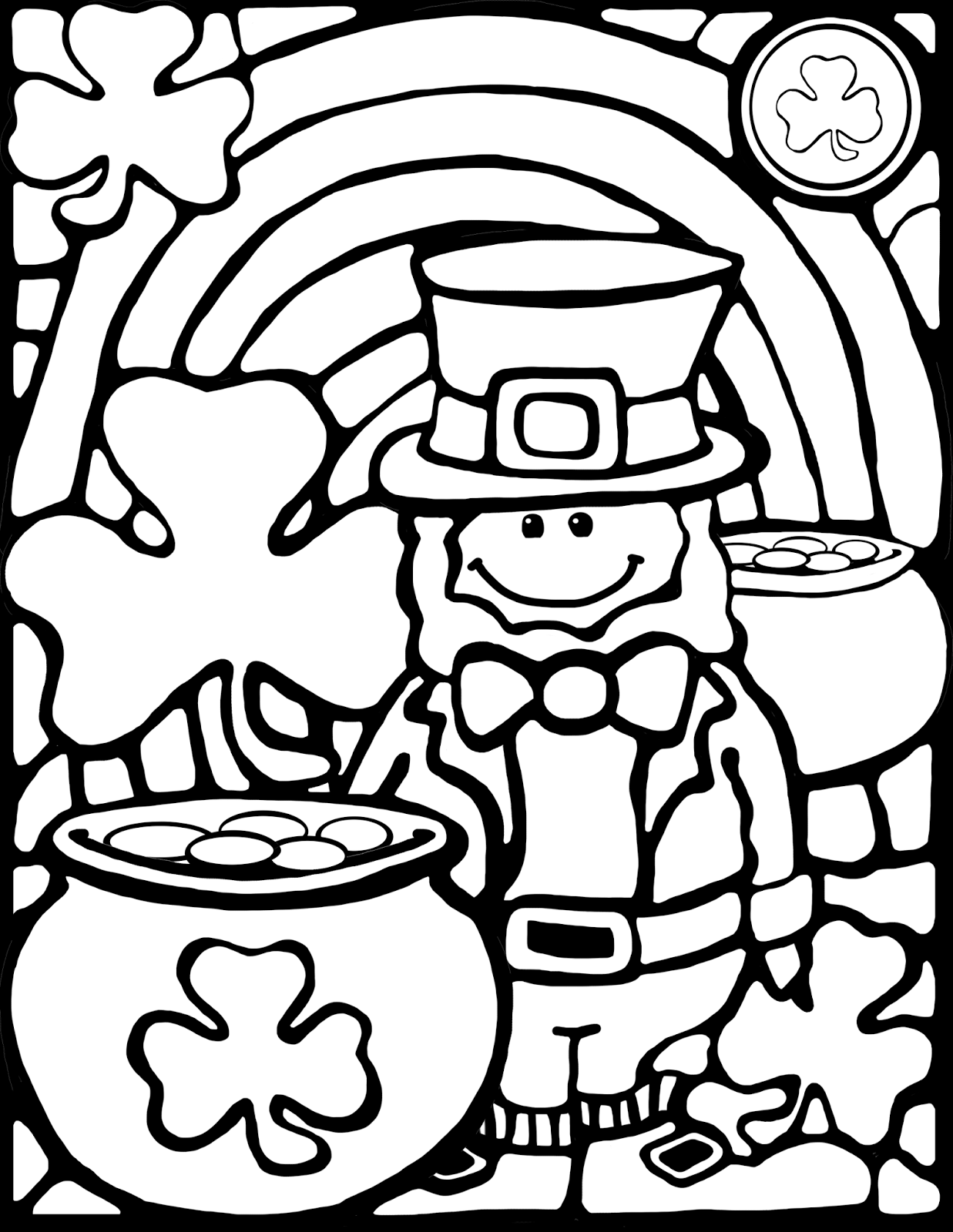 Free Download Stained Glass Style Leprechaun For Coloring Projects Spring Coloring Pages St Patrick S Day Crafts Coloring Pages [ 1600 x 1237 Pixel ]