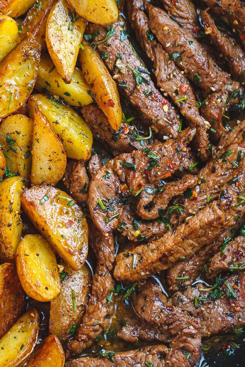 Garlic Butter Steak and Potatoes Skillet - This easy one-pan recipe is SO simple, and SO flavorful.