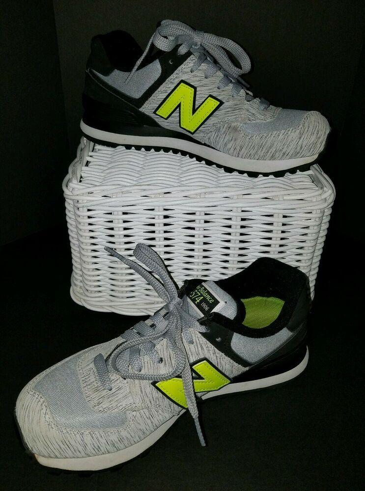 a9a3c63a New Balance 574 Heather Gray & Neon Green Women's Size 7.5 Running ...