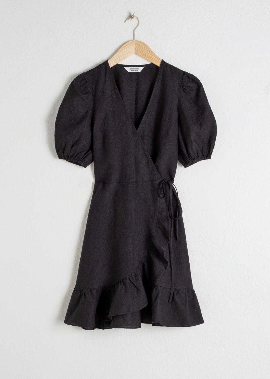 Puff Sleeve Linen Wrap Mini Dress Mini Wrap Dress Mini Dress With Sleeves Mini Dress [ 1435 x 1025 Pixel ]