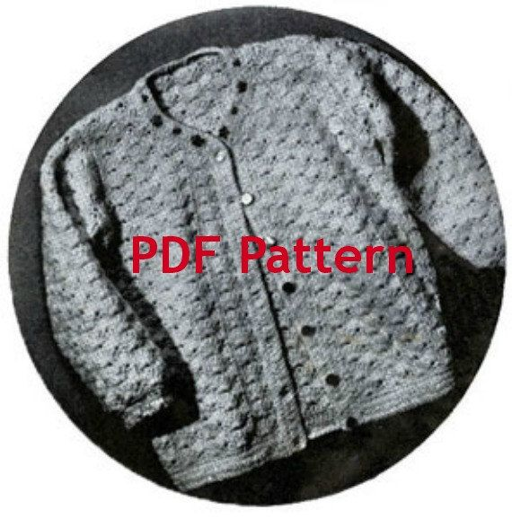 Vintage 1943 Toddler Cardigan Sweater Pattern in Crochet with embroidered flowers at neckline. by BubbleGumInTheMail. $2.50
