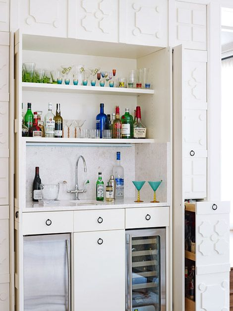 Fully stocked bar hidden behind seamless panels. | 1 Dream Home ...