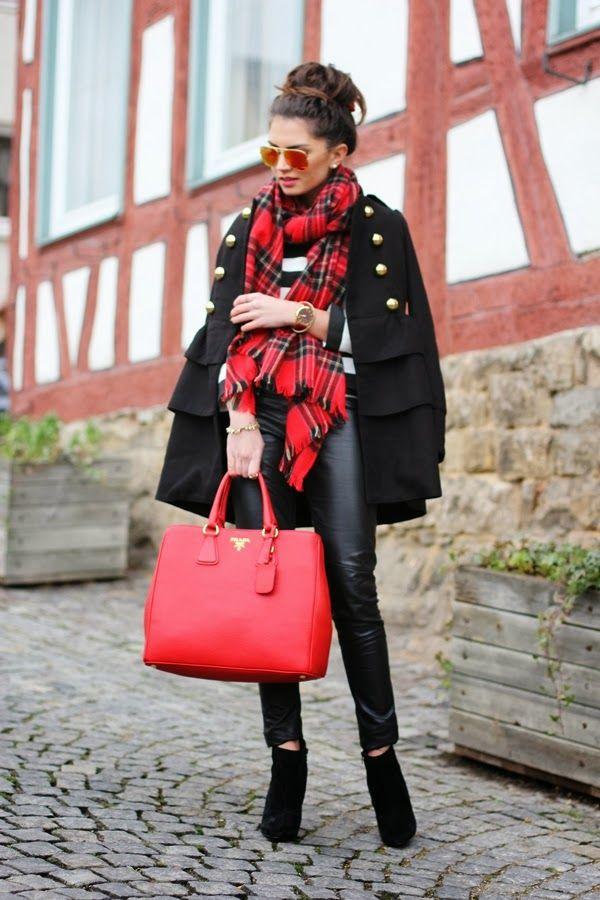 red | Mode, Schwarzer schal, Roter schal