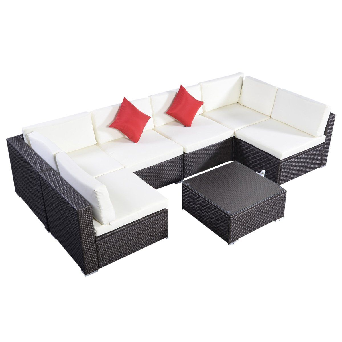tangkula 7 pcs outdoor patio wicker furniture sets rattan sofas