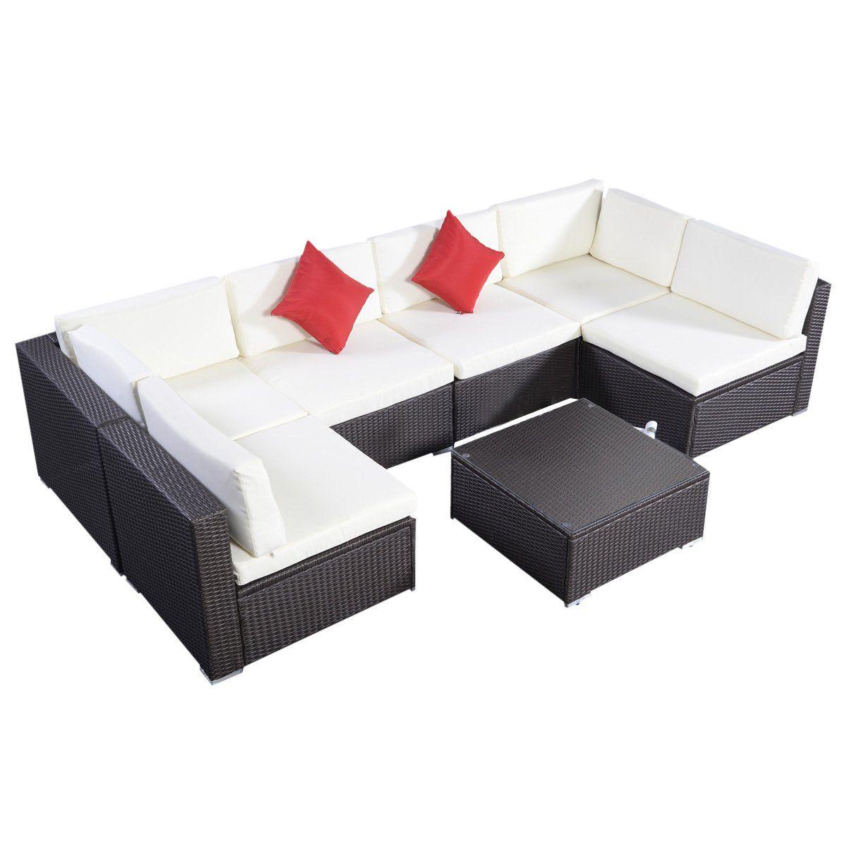 tangkula 7 pcs outdoor patio wicker furniture sets rattan sofas