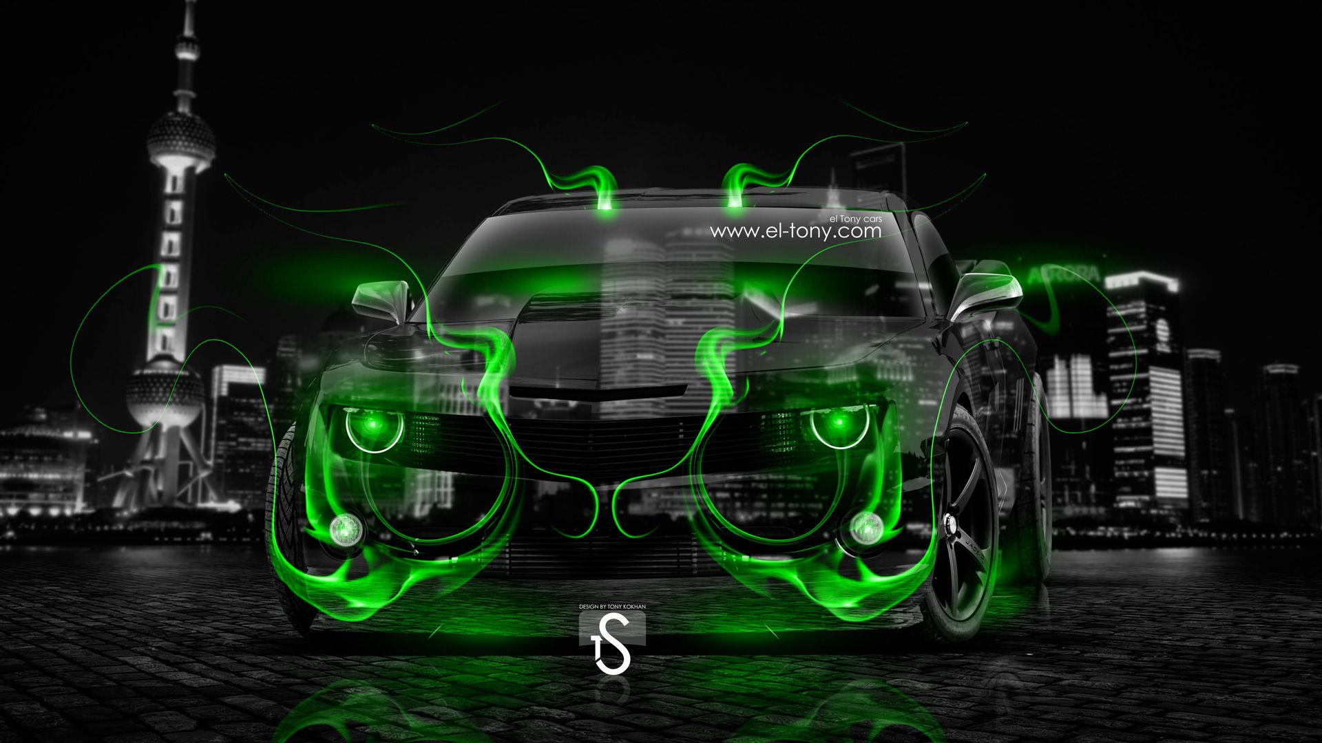 Chevrolet Camaro Muscle Crystal Green Fire Neon Car