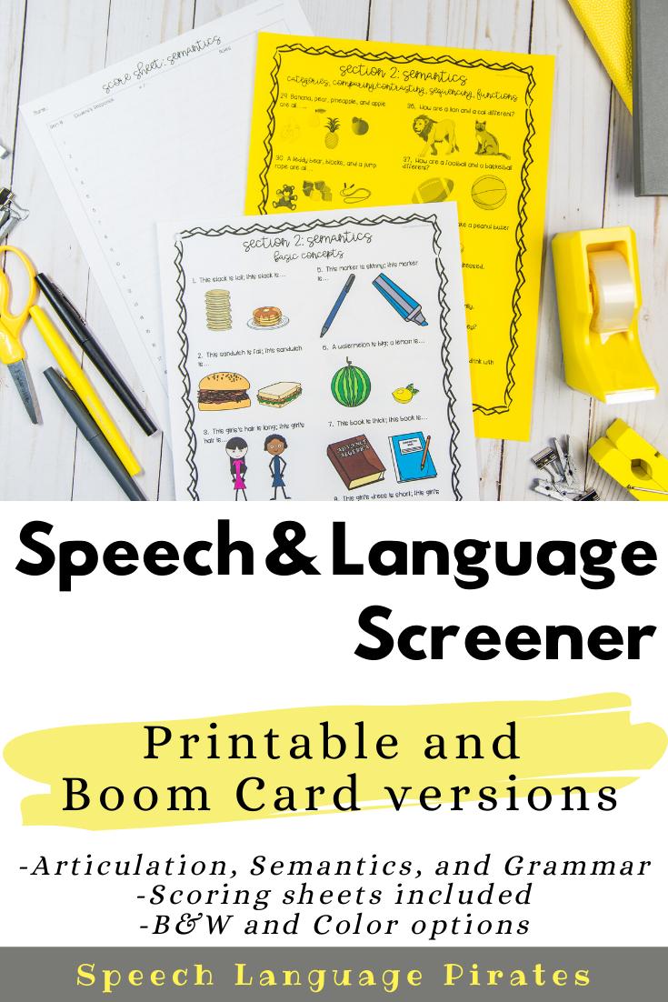 Back To School Speech And Language Screener Speech Therapy Activities Articulation Speech Therapy Worksheets Speech Therapy Activities Language [ 1102 x 735 Pixel ]